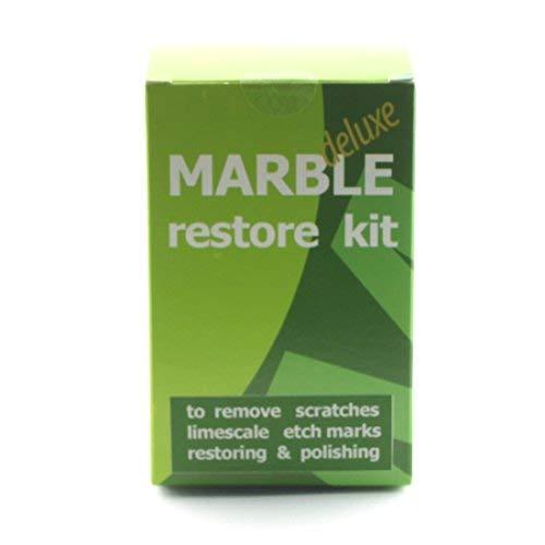 Marmor Restaurierungs-Set Deluxe zur Erneuerung des Polierens von Natursteinen, Kratzern oder Kalkablagerungen, 100 g Pulverpolierer