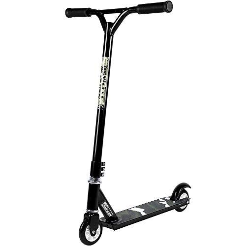 Deuba Stunt Roller | Stunt Army | Scooter Aluminium | Tretroller ABEC 7 Kugellager | Kinderroller 360° Y-Lenker | schwarz