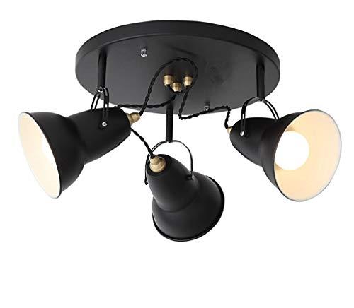 3 Light Semi Flush Kronleuchter (BDYJY Retro Deckenleuchte Vintage Style Semi Flush Mount Deckenleuchte, 3-Light (Farbe: Schwarz))