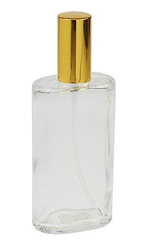 Ovaler Zerstäuber, Kosmetex Glas Flakon für Parfüm, Gesichtswasser, leer mit Zerstäuber, 100ml, Gold