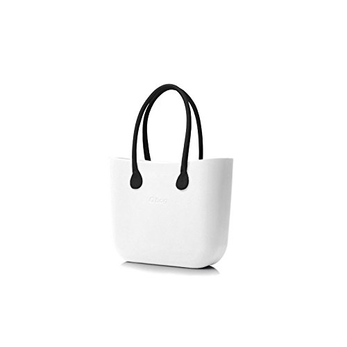 Borsa o bag colore bianco con manico lungo nero e sacca