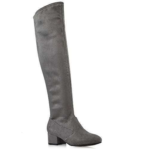 ESSEX GLAM Frauen Lange Oberschenkel Hohe Reißverschluss Schuhe Damen Grau Wildlederimitat Rund Mittelniedriger Block Absatz Overknee Dehnbare Stiefel EU ()