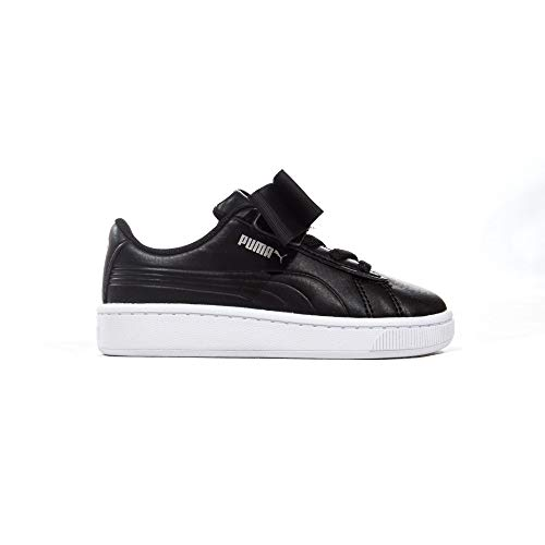 Rabatt Puma Schuhe (Puma Vikky V2 Ribbon Bow Baby Kinder Fashion Sneaker Schuh schwarz, Schwarz - Schwarz - Größe: 25 EU)