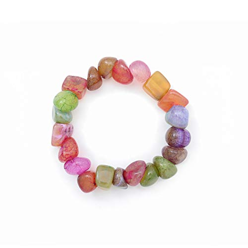 Swittyun - braccialetto con pietre naturali irregolare dei chakra, con agata di colore misto, per donne e ragazze, regalo di natale