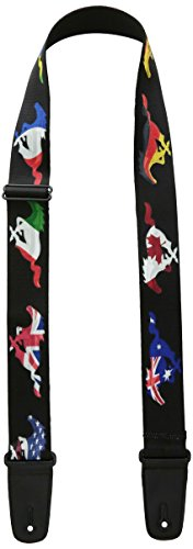 buckle-down Gitarrengurt One Size Fits Most Mustang Silhouette Black/International Flags (Automobil-logo-flag)