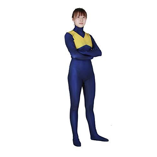 Kind Erwachsener X-Men: Dark Phoenix Kostüm Superhelden Cosplay Verkleidung Halloween Mottoparty Strumpfhosen 3D Druck Spandex Onesies,Blue-XXXL