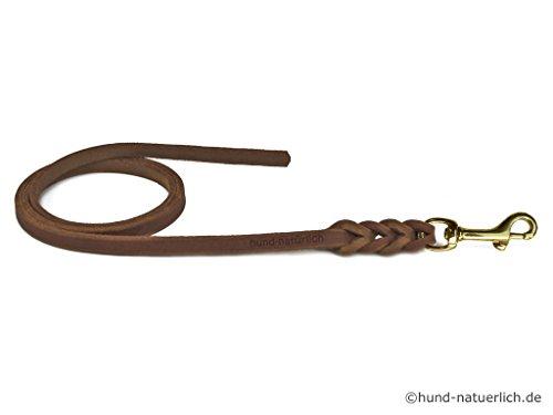 Fettlederleine 5m braun mit Messing Haken, Schleppleine aus Leder für Hunde (5m x 8mm)
