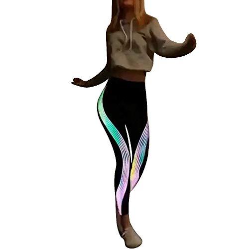 Yogahose Streifen Damen Elastische Taille Sporthosen Workout Hosen Hohe Taille Frauen Sportgymnastik Yoga Laufen Fitness Leggings Hosen Sporthose Mesh Yoga Hosen Neonregenbogen -