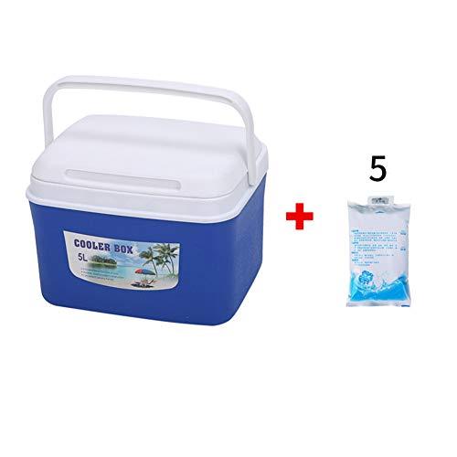 5L 6L Kühlbox Cold Icebox Mini Dual Use Auto Kühlschrank Home Bewahrung Tragbare Reise Camping BBQs Outdoor-Aktivitäten,Blue,5L