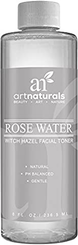 ArtNaturals Rosewater Witch Hazel Toner - 236ml - Natural Anti Aging Pore Minimizer for Face - Infused with Aloe Vera for Hydrating - For All Skin