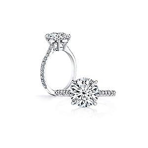 AINUOSHI 3 Karat glänzende runde Zirkonia Imitat Diamant Verlobungsringe für Frauen 925 Sterling Silber