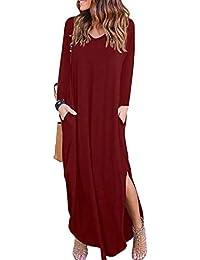 Largo Vestido para Mujer ,BBestseller Mujer Sexy Vestido de Fiesta Manga Larga Vestido Informal Cuello