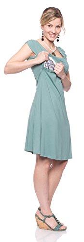 Milchshake - Süßes Umstandskleid und Stillkleid mit Schmetterlingsärmeln  Bella mintgrün uni