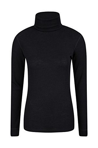 Mountain Warehouse Merino Damen Unterhemd Rolli Thermounterwäsche Skiunterwäsche Langarmshirt mit Rollkragen Winter Baselayer Schwarz DE 34 (EU 36) | 05052776728553