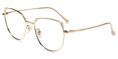 Firmoo Polygon Computer Brille Blaulichtfilter Brille ohne Sehstärke Entspiegelte Vollrand Metallbrille Arbeitsplatzbrille Anti UV für Frauen und Männer (Gold, 52-18-144)