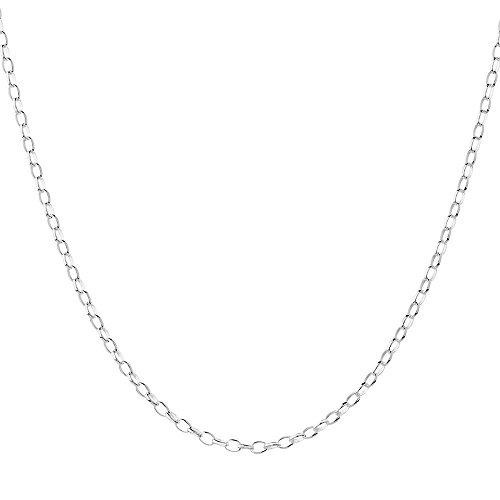 COZMOS Feine Silberkette Gliederkette Halskette Kette Collier Armband Fußkette 925 Silber Sterling 1mm – 15, 20, 25, 30, 35, 40, 45, 50, 55, 60, 65, 70, 75, 80, 85, 90, 95, 100cm