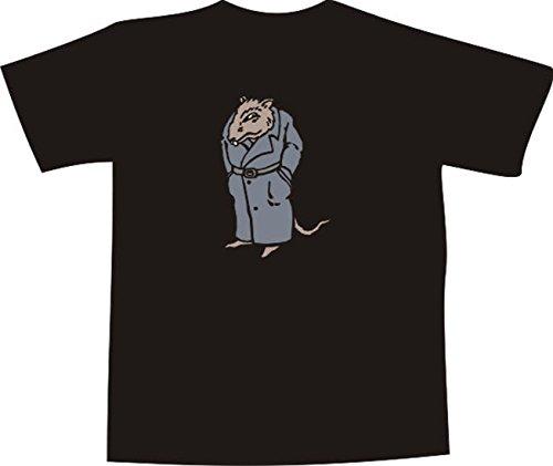 T-Shirt E822 Schönes T-Shirt mit farbigem Brustaufdruck - Logo / Grafik - Comic Design - Ratte von der Mafia Schwarz