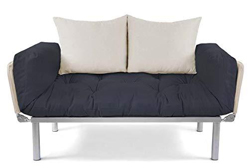 EasySitz Schlafsofa Sofa 2 Sitzer Kleines Couch 2-Sitzer Schlafsessel für Zweisitzer Personen Mein Futon Sitzen EIN Einer Farbauswahl (Dunkel Grau & Creme)