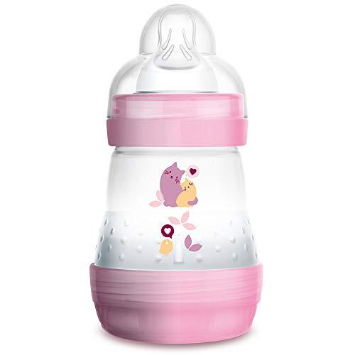 MAM Easy Start Anti-Colic Babyflasche (160 ml) - Babyflasche mit innovativem Bodenventil gegen Koliken - Baby Trinkflasche mit Sauger Größe 1, ab der Geburt, Katzen, rosa