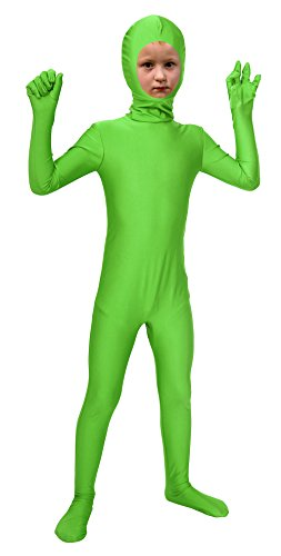 Sheface Kids Spandex Face Out Bodysuit Fancy Dress Costume (Small, Lime Green) (Green Halloween-kostüme Lime)
