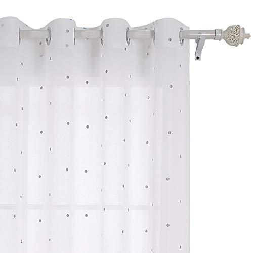 �nge mit Ösen Vorhänge Durchsichtig Gardinenschals mit Stickerei 175x140 cm Hellgrau Punkt ()
