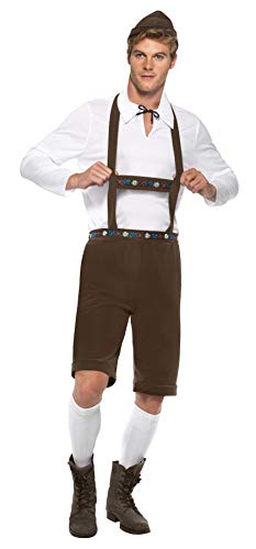 Smiffy\'s 30286 Bavarian Man Costume Lederhosen Shorts with Braces Top and Hat (Medium, Brown) (M) (Herren Kostüm Top Hats)