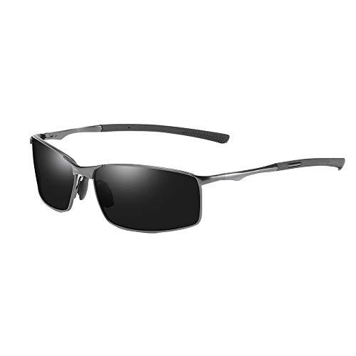 ANRIRA Polarisierte Sonnenbrille der Männer, Anti-Sonnenblendung, die das Brillen-Spiegel-Farbwechsel-Nacht-HD-Anblick-Art- und Weisebrille ändert,Gun/Black