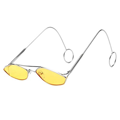 FIRM-CASE Mode Oval Sonnenbrillen Männer Frauen Metallring Double Beam Kleiner Rahmen Sonnenbrillen Neue Brille, 5