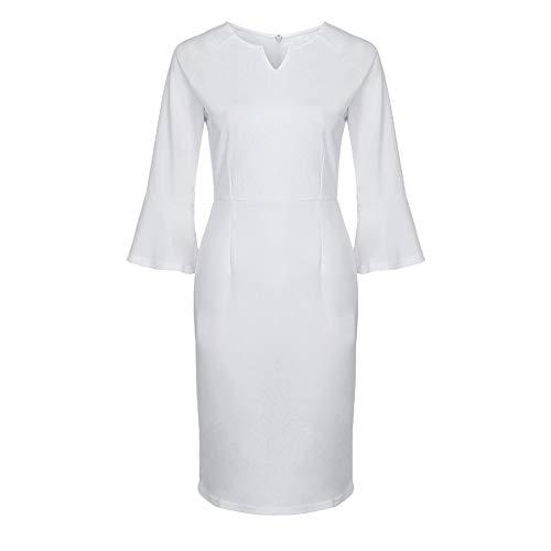 Kleider Damen,SANFASHION Frauen Sexy V-Ausschnitt Volant Bell Ärmel Büroarbeit Lässig...