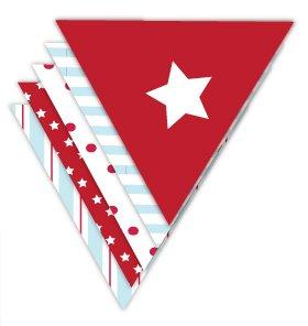 Wimpelkette mit Roten, Blauen und Weissen Streifen, Punkten und Sternen - Classic Boy Girlande (Rot Sterne Blau Weiß)
