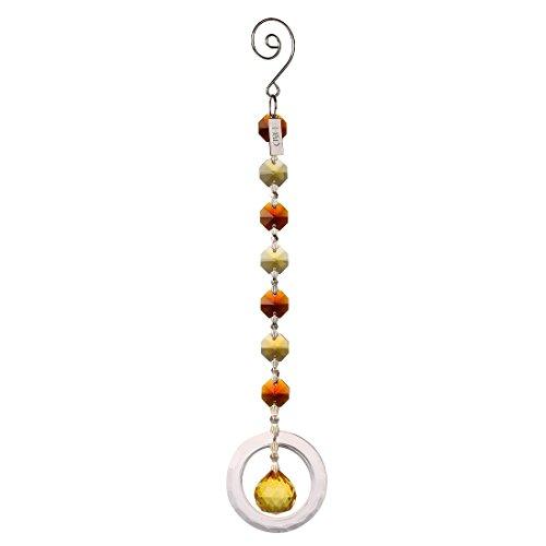 H & D 20mm Kronleuchter Kristall Ball mit Ringe Anhänger Chakra Sun Catcher für Home & Geschenk gelb - Gelbe Chakra-anhänger
