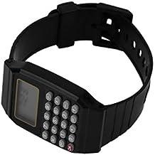 Heaviesk Reloj de silicona Práctico para niños Estudiantes Calculadora Reloj digital Color sólido Silicona Cómodo desgaste