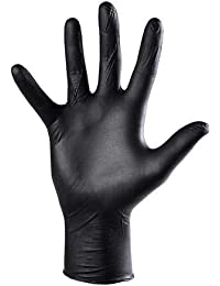 Rensow Men's Natural Rubber Latex Non-sterile and Powder-free Fantom Gloves (Black, Small)