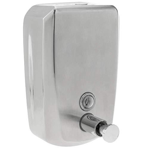 PrimeMatik - Dispensador de jabón de pared de acero inoxidable para baño cocina gimnasio oficina
