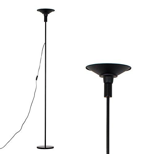MiniSun – Einfacher und moderner 'Largo' Deckenfluter mit einer integrierten und warmweißen 24w LED-Leuchte und einem schwarzen Finish – Stehlampe