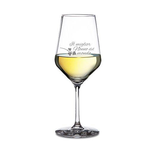 Amavel calice da vino bianco - bicchiere da vino con incisione - il miglior nonno del mondo - accessori decorativi cucina - degustazione - idea regalo originale per lui - compleanno - natale