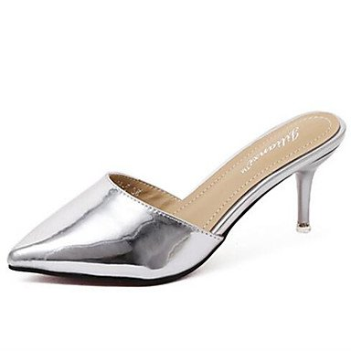 LvYuan Damen-Sandalen-Lässig-PU-Flacher Absatz-Andere-Schwarz Silber Gold Black