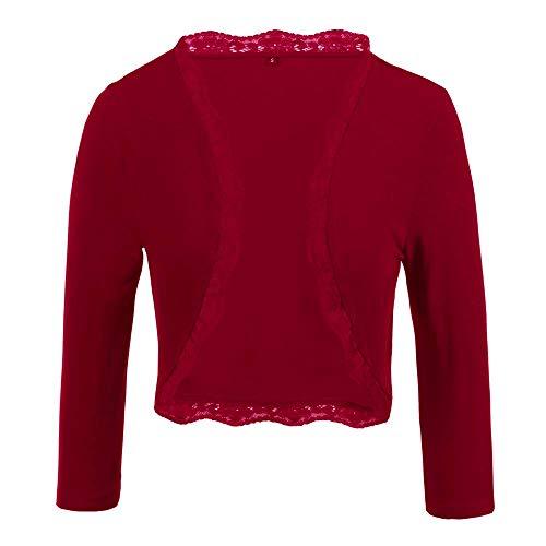 TrendiMax Damen Eleganter Bolero Jacke Festlich Kurze Strickjacke Spitze Jäckchen (Rot, 2XL) -