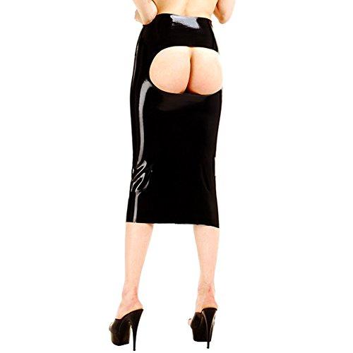 EXLATEX Frauen Latex Gummi Pr¨¹gel Open Clubwear Langer Rock (Kostüme Lingere)