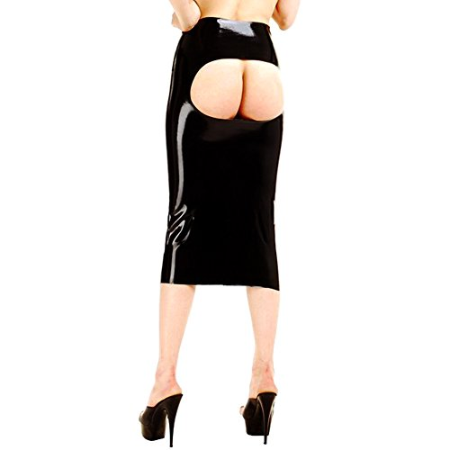EXLATEX Frauen Latex Gummi Pr¨¹gel Open Clubwear Langer Rock Fetisch