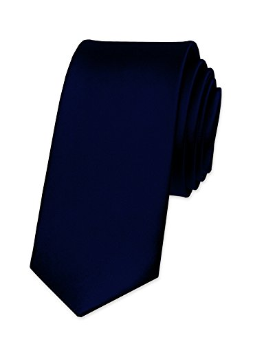Autiga® Krawatte Herren Hochzeit Konfirmation Slim Tie Retro Business Schlips schmal schwarzblau (Cm 5 Tie)