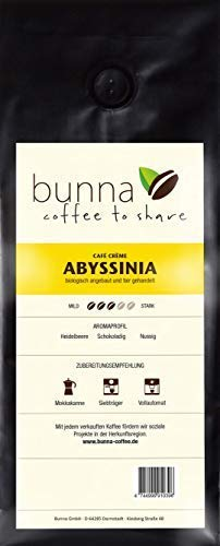 BUNNA COFFEE - PREMIUM KAFFEE - ABYSSINIA Café Crème, 100% HANDVERLESENE FAIRTRADE ARABICA BOHNEN...