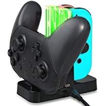 Nintendo Switch Pro Controller & Joy Con Ladestation Konky 4 in 1 Ladestation mit LED-Anzeige Licht Typ C Kabel für N-Switch Joy-Cons und Pro Controller
