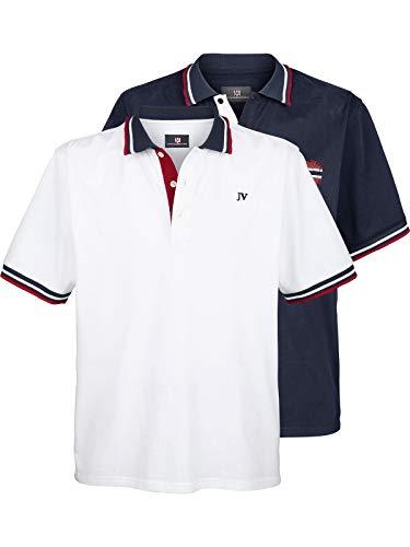 Weißes Rugby-shirt (Jan Vanderstorm Herren Kurzarm Doppelpack Poloshirt Johan (2er Pack Polo Shirts) weiß 4XL (XXXXL) - 68/70)