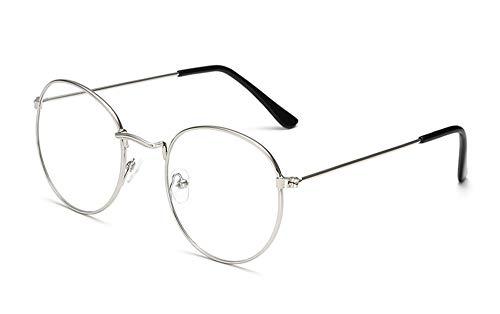 Huateng HT Retro brillengestell Harajuku metall runde flache spiegel männer und frauen literarischen runden rahmen dekorative rahmen 3447 (kein grad)