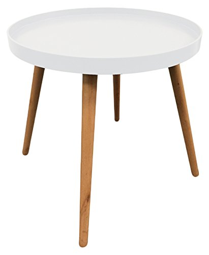 THE HOME DECO FACTORY HD3193 Table Plateau Ronde MDF, Blanc, 50,1x50,1x44,3 cm