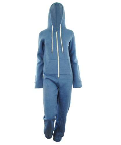 Gracious Girl - Combinaison Femme Uni A Capuche Poche Survêtement Long Neuf Bleu - Denim