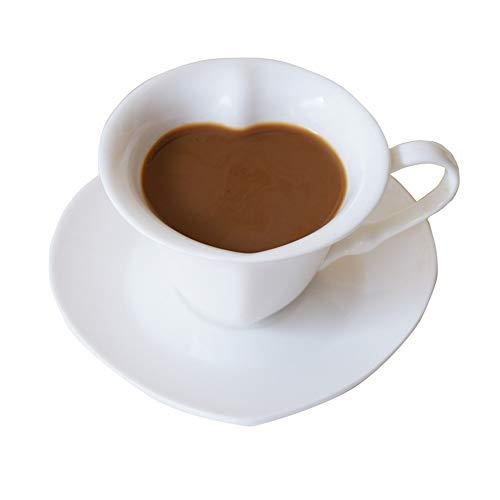 Loywt set di tazze di caffè a forma di cuore in stile europeo fantasia di tazze di ceramica bianca, tazze, piattini, regali per san valentino, cuori di pesca.