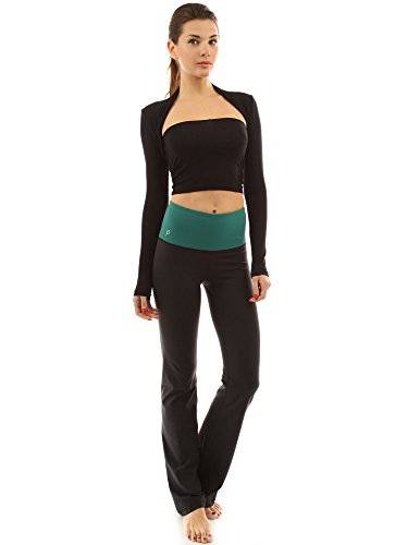 PattyBoutik femmes façonner série bootcut pantalons de yoga vert et noir