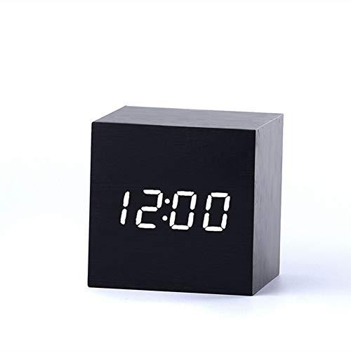 Yuejiancaos Leiser Wecker LED-Zeitanzeigebildschirm Kreativer Retro- Holzmaserungminiwecker(Black)